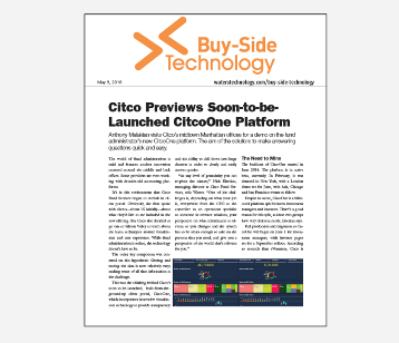 WatersTechnology Article - Citco Previews soon-to-be- Launched CitcoOne Platform